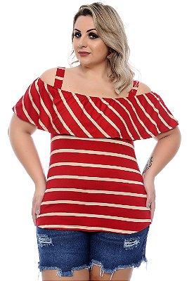 Blusa Listrada Plus Size Kalil