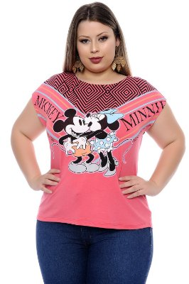 Blusa Plus Size Mickey Pink Kisses