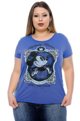 T-shirt Plus Size Mickey Blue Honor