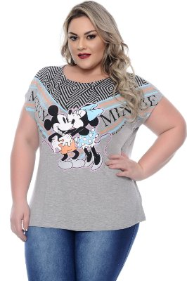 T-shirt Plus Size Mickey Grey Kisses