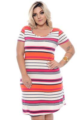 Vestido Listrado Plus Size Teresa