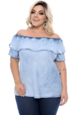 Blusa Jeans Plus Size Sally