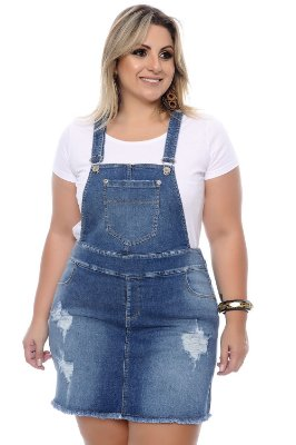 Jardineira Jeans Plus Size Livie