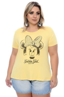 Blusa Plus Size Mickey Ouro Yellow