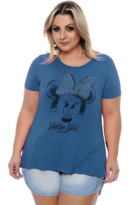 T-shirt Plus Size Mickey Ouro Turquesa