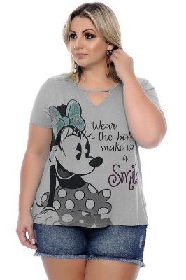 Blusa Plus Size Smile Grey