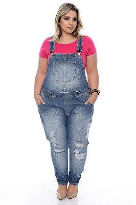 Macacão Jeans Plus Size Leana