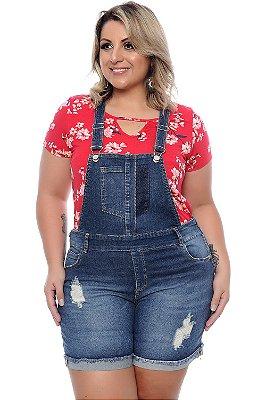 Jardineira Jeans Plus Size Genara
