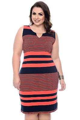 Vestido Listrado Plus Size Jaydem