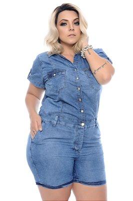 Macaquinho Jeans Plus Size Naiana