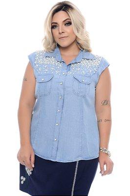 Camisa Jeans Plus Size Mistica