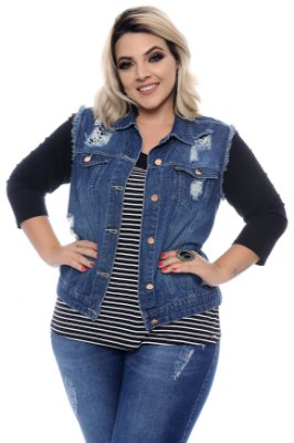 Colete Jeans Plus Size Vitas