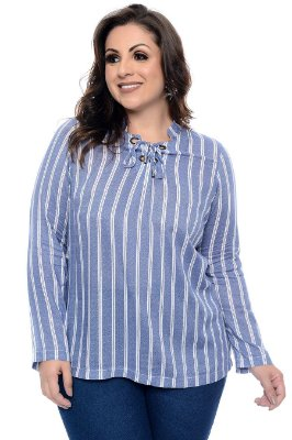 Blusa Listrada Plus Size Yancy