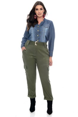 Camisa Jeans Plus Size Addia