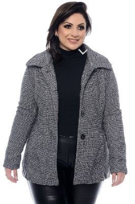 Casaco Tweed Plus Size Marluz
