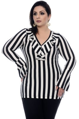 Blusa Listrada Plus Size Marusi