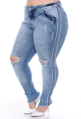 Calça Cigarrete Jeans Plus Size Riboli