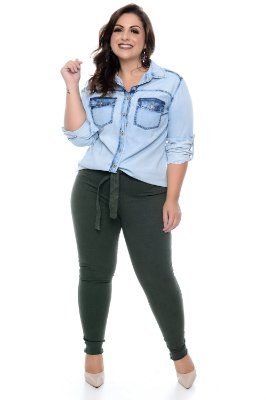 0866715e8 Camisa Jeans Plus Size Addia