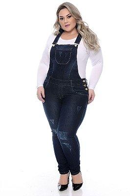Jardineira Jeans Plus Size Paisley