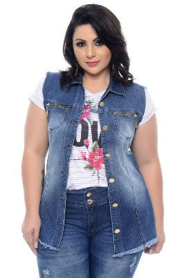 Colete Jeans Plus Size Sisak