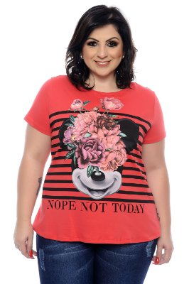 T-shirt Plus Size Disney Flowers Red