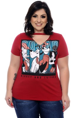 T-shirt Plus Size Mickey Friend Vinho