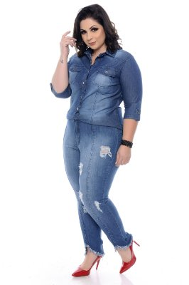 Camisa Jeans Plus Size Betha