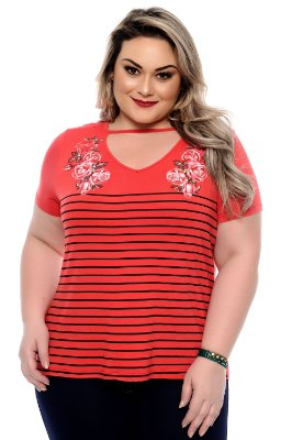 Blusa Plus Size Shoker Roses Red