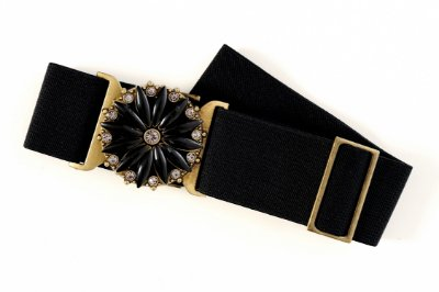 Cinto Plus Size Elástico Pedraria Black