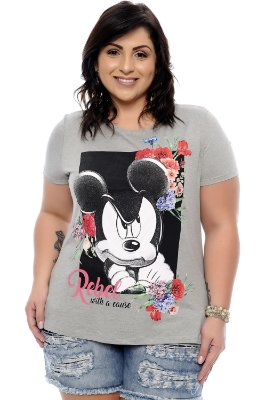 T-Shirt Plus Size Rebel Cinza