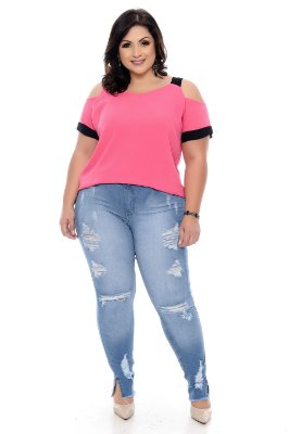 Calça Cigarrete Jeans Plus Size Damary