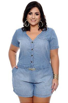 Macaquinho Jeans Plus Size Adalia