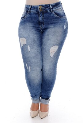 Calça Cigarrete Jeans Plus Size Elionay