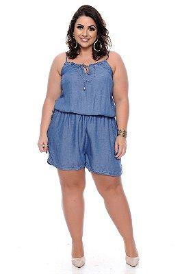 Macaquinho Jeans Plus Size Sabrina