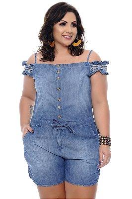 Macaquinho Jeans Plus Size Lanzoni