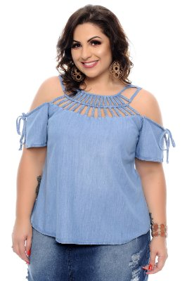 Blusa Jeans Plus Size Alicy