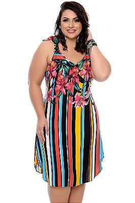Vestido Listrado Plus Size Gretah
