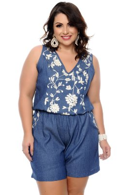 Macaquinho Jeans Plus Size Giusy