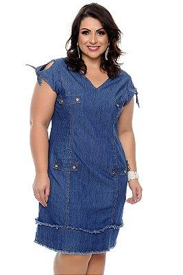 Vestido jeans midi plus size