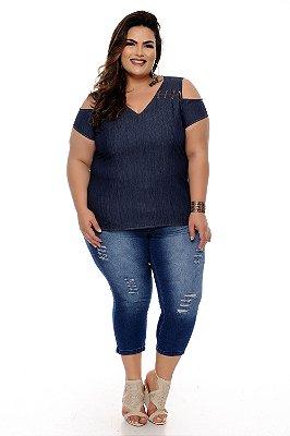 Blusa Jeans Plus Size Mareth