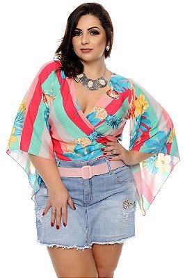 Blusa Listrada Plus Size Zaly