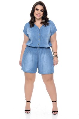 Macaquinho Jeans Plus Size Allici