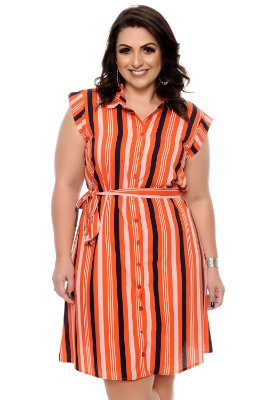 Vestido Listrado Plus Size Bhyah