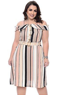 Vestido Listrado Plus Size Anay