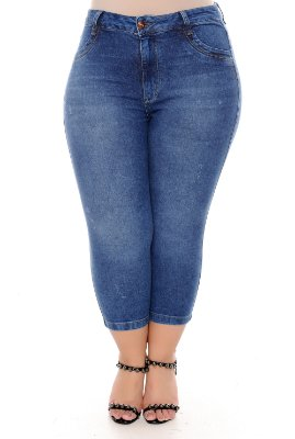 Calça Capri Jeans Plus Size Raila