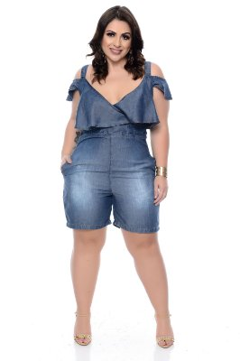Macaquinho Jeans Plus Size Kariny