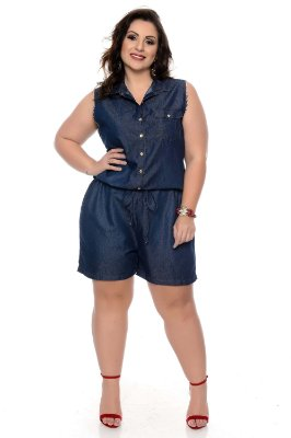 Macaquinho Jeans Plus Size Ohye