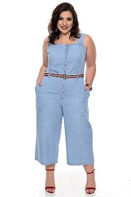 Macacão Jeans Plus Size Zana