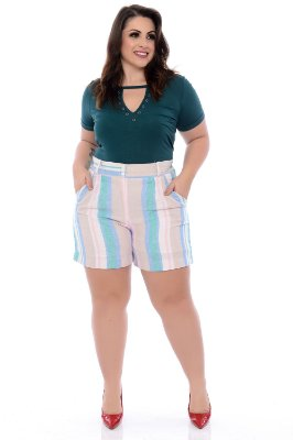 Shorts de Linho Plus Size Tania