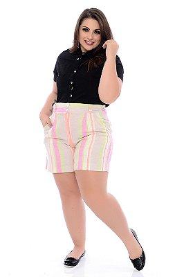 Shorts de Linho Plus Size Sarene